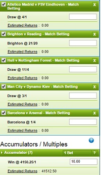 How an accumulator betslip will look